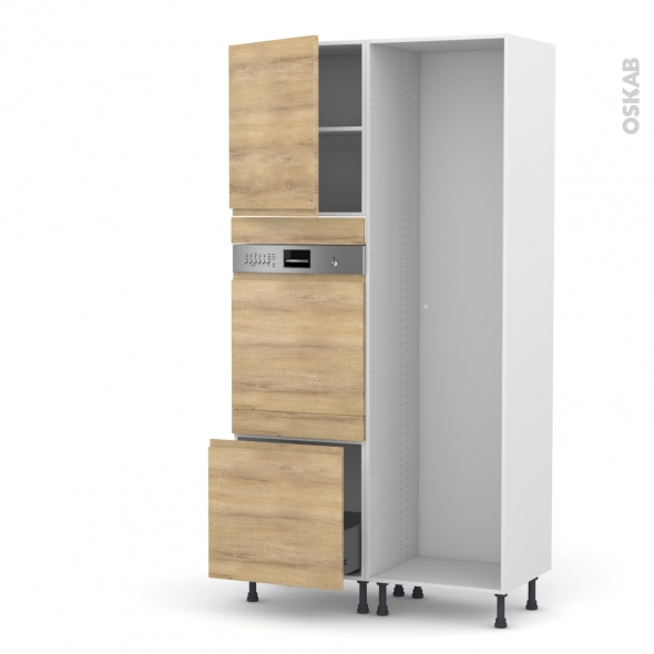 Colonne de cuisine - Lave vaisselle intégrable - IPOMA Chêne naturel - L60 x H217 x P58 cm