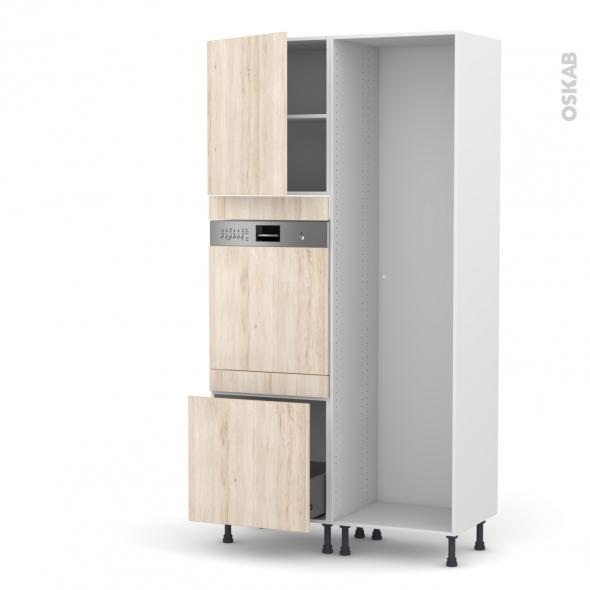 Colonne de cuisine - Lave vaisselle intégrable - IKORO Chêne clair -  - L60 x H217 x P58 cm