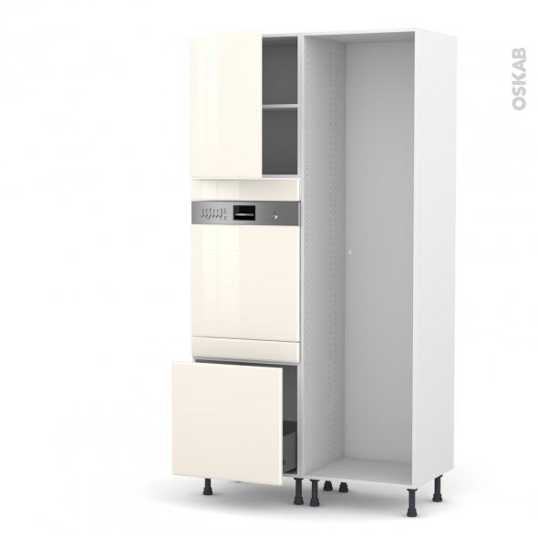 IRIS Ivoire - Colonne Lave vaisselle - Intégrable - L60xH217xP58