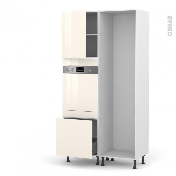 Colonne de cuisine - Lave vaisselle intégrable - KERIA Ivoire - L60 x H217 x P58 cm