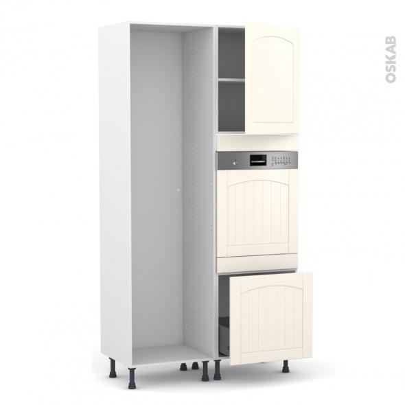 SILEN Ivoire - Colonne Lave vaisselle - Intégrable - L60xH217xP58 - droite