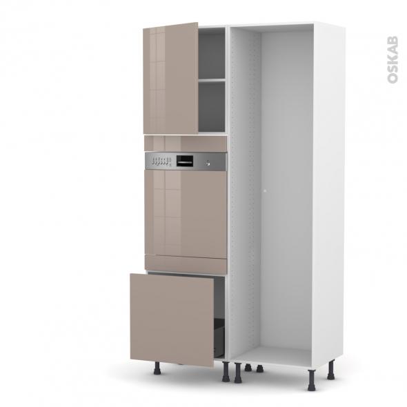 Colonne de cuisine - Lave vaisselle intégrable - KERIA Moka - L60 x H217 x P58 cm