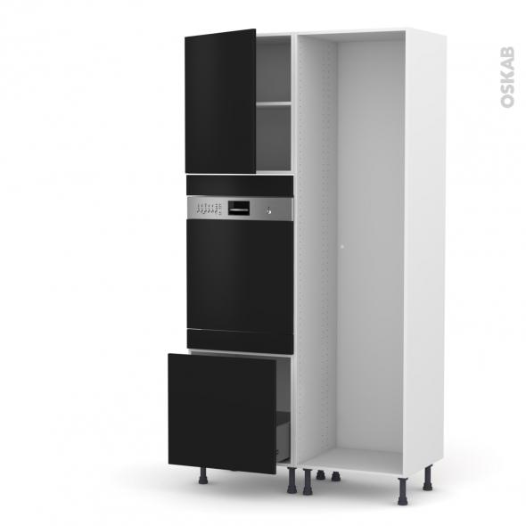 GINKO Noir - Colonne Lave vaisselle - Intégrable - L60xH217xP58