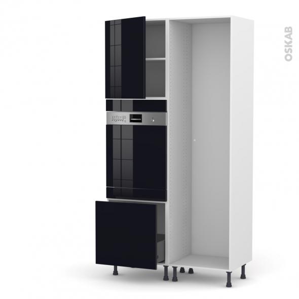 KERIA Noir - Colonne Lave vaisselle - Intégrable - L60xH217xP58