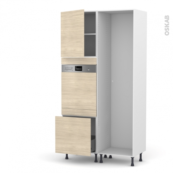 Colonne de cuisine - Lave vaisselle intégrable - STILO Noyer Blanchi - L60 x H217 x P58 cm