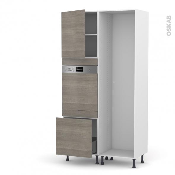 STILO Noyer Naturel - Colonne Lave vaisselle - Intégrable - L60xH217xP58