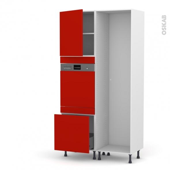 GINKO Rouge - Colonne Lave vaisselle - Intégrable - L60xH217xP58