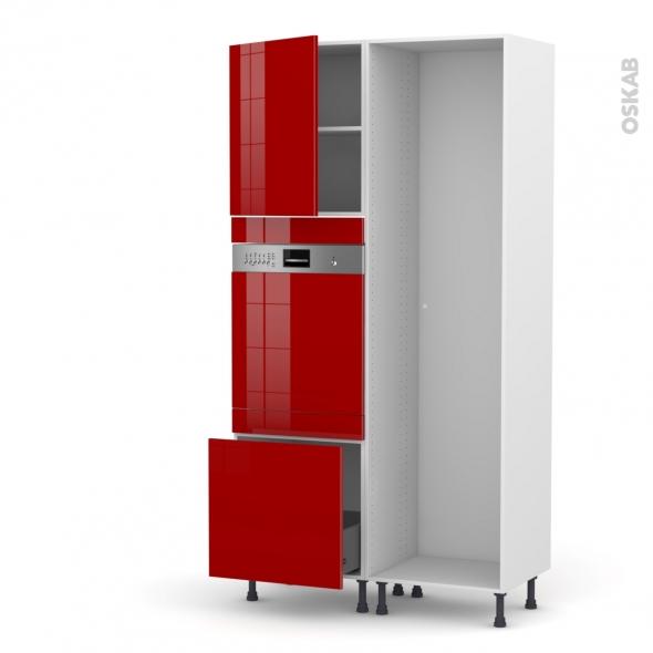 Colonne de cuisine - Lave vaisselle intégrable - STECIA Rouge - L60 x H217 x P58 cm