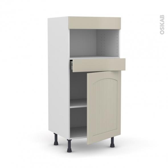 SILEN Argile - Colonne MO niche 36/38 N°21  - 1 porte 1 tiroir - L60xH125xP58 - droite
