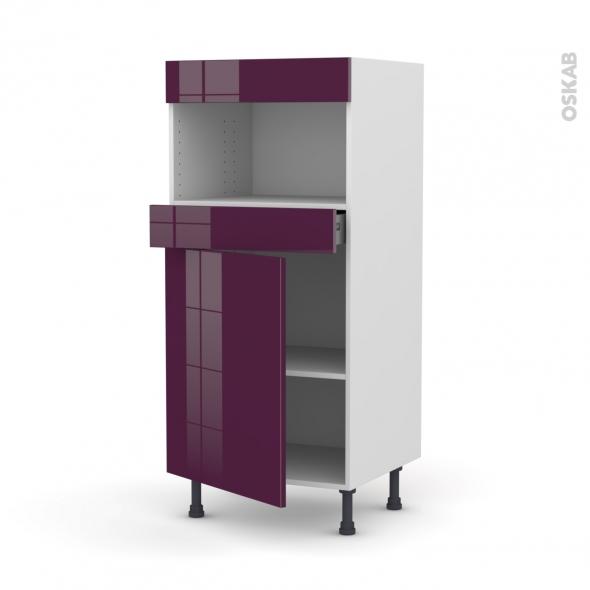 KERIA Aubergine - Colonne MO niche 36/38 N°21  - 1 porte 1 tiroir - L60xH125xP58