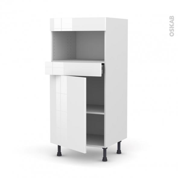 STECIA Blanc - Colonne MO niche 36/38 N°21  - 1 porte 1 tiroir - L60xH125xP58