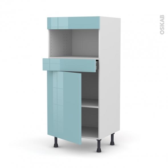 Colonne de cuisine N°21 - MO encastrable niche 36/38 - KERIA Bleu - 1 porte 1 tiroir - L60 x H125 x P58 cm