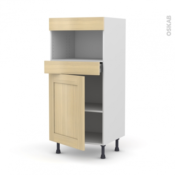 BASILIT Bois Vernis - Colonne MO niche 36/38 N°21  - 1 porte 1 tiroir - L60xH125xP58