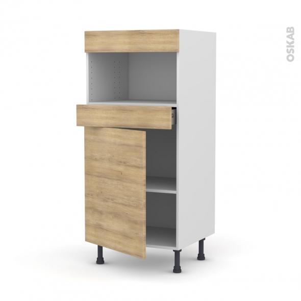 Colonne de cuisine N°21 - MO encastrable niche 36/38 - HOSTA Chêne naturel - 1 porte 1 tiroir - L60 x H125 x P58 cm