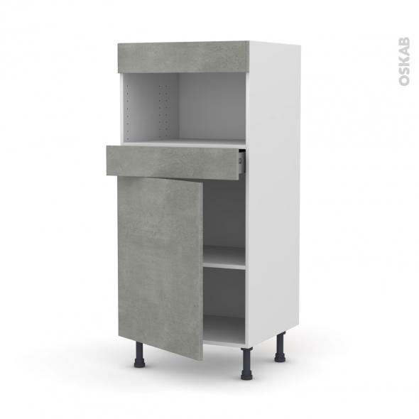 Colonne de cuisine N°21 - MO encastrable niche 36/38 - FAKTO Béton - 1 porte 1 tiroir - L60 x H125 x P58 cm
