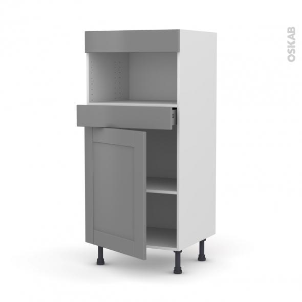Colonne de cuisine N°21 - MO encastrable niche 36/38 - FILIPEN Gris - 1 porte 1 tiroir - L60 x H125 x P58 cm