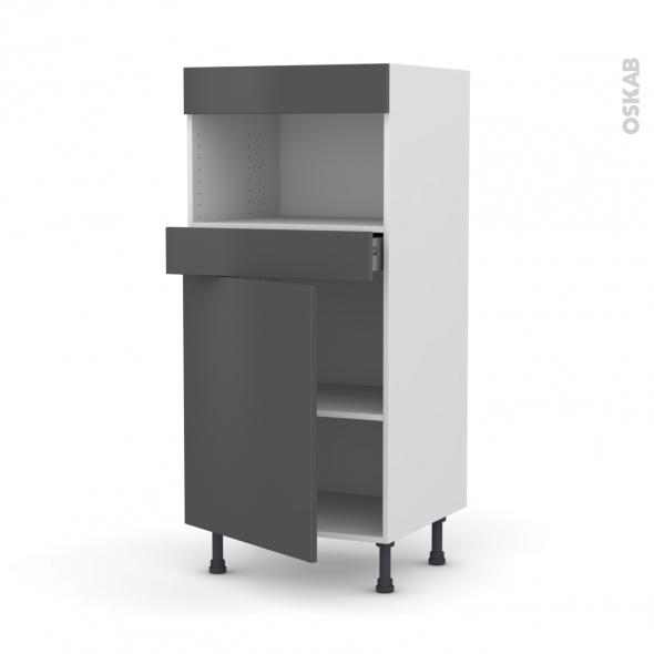 Colonne de cuisine N°21 - MO encastrable niche 36/38 - GINKO Gris - 1 porte 1 tiroir - L60 x H125 x P58 cm