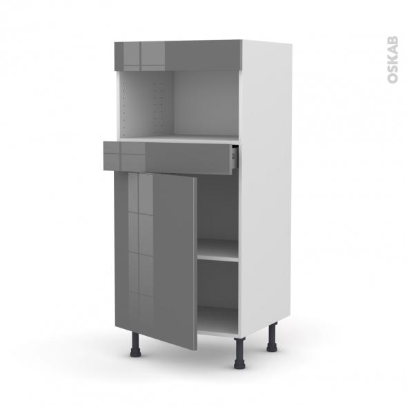 Colonne de cuisine N°21 - MO encastrable niche 36/38 - STECIA Gris - 1 porte 1 tiroir - L60 x H125 x P58 cm