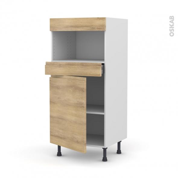 Colonne de cuisine N°21 - MO encastrable niche 36/38 - IPOMA Chêne naturel - 1 porte 1 tiroir - L60 x H125 x P58 cm