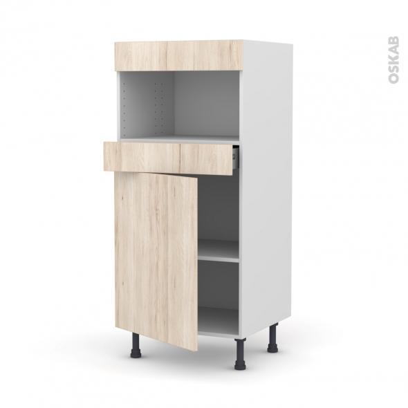 Colonne de cuisine N°21 - MO encastrable niche 36/38 - IKORO Chêne clair - 1 porte 1 tiroir - L60 x H125 x P58 cm
