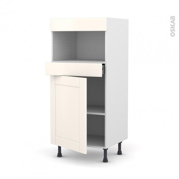 Colonne de cuisine N°21 - MO encastrable niche 36/38 - FILIPEN Ivoire - 1 porte 1 tiroir - L60 x H125 x P58 cm