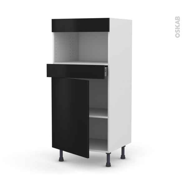 Colonne de cuisine N°21 - MO encastrable niche 36/38 - GINKO Noir - 1 porte 1 tiroir - L60 x H125 x P58 cm