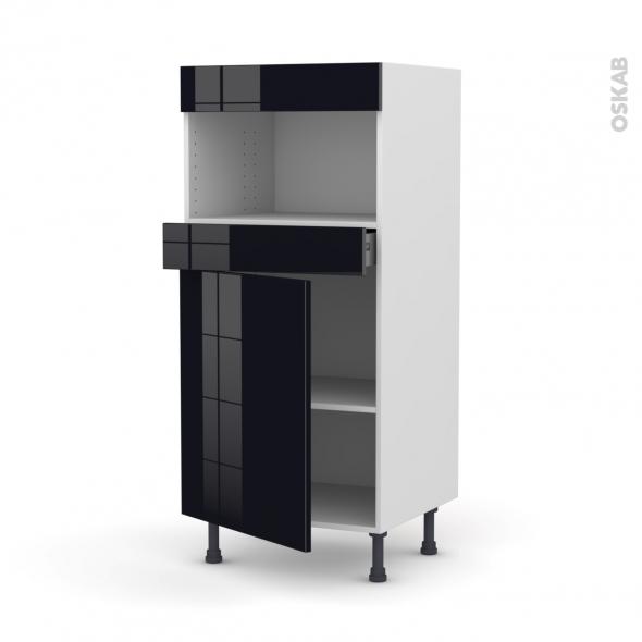 KERIA Noir - Colonne MO niche 36/38 N°21  - 1 porte 1 tiroir - L60xH125xP58