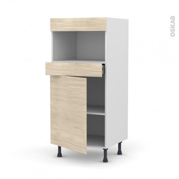Colonne de cuisine N°21 - MO encastrable niche 36/38 - STILO Noyer Blanchi - 1 porte 1 tiroir - L60 x H125 x P58 cm