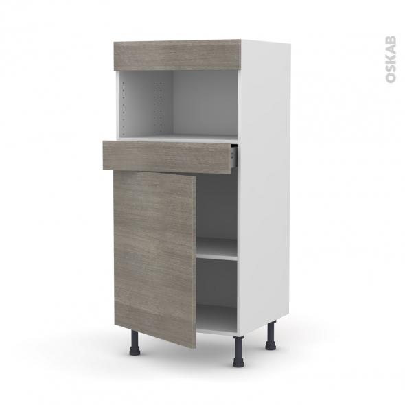 Colonne de cuisine N°21 - MO encastrable niche 36/38 - STILO Noyer Naturel - 1 porte 1 tiroir - L60 x H125 x P58 cm