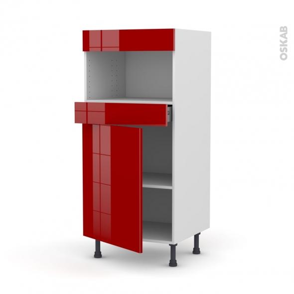 Colonne de cuisine N°21 - MO encastrable niche 36/38 - STECIA Rouge - 1 porte 1 tiroir - L60 x H125 x P58 cm