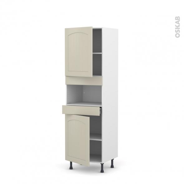 SILEN Argile - Colonne MO niche 36/38 N°2121  - 2 portes 1 tiroir - L60xH195xP58 - gauche