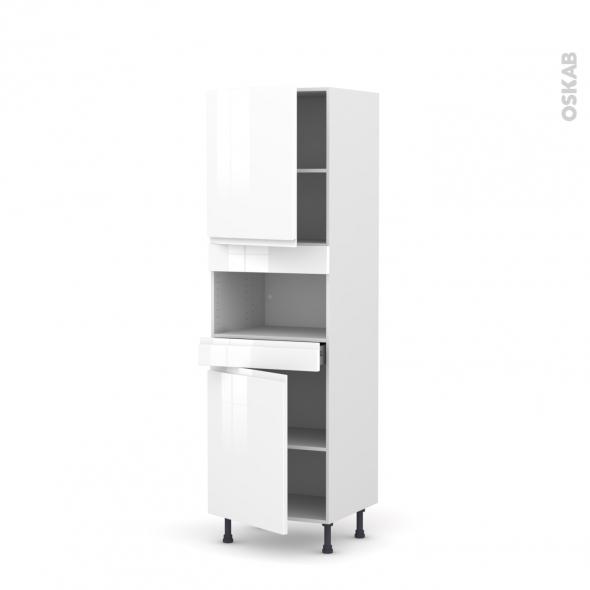 Colonne de cuisine N°2121 - MO encastrable niche 36/38 - IPOMA Blanc brillant - 2 portes 1 tiroir - L60 x H195 x P58 cm