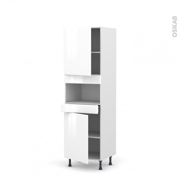 Colonne de cuisine N°2121 - MO encastrable niche 36/38 - IRIS Blanc - 2 portes 1 tiroir - L60 x H195 x P58 cm