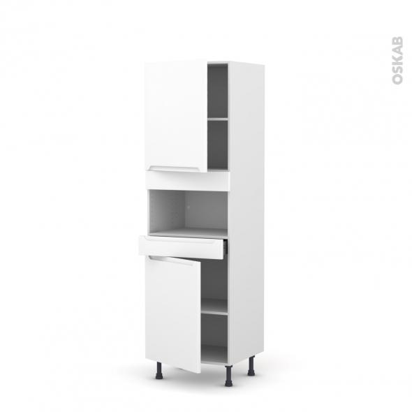 Colonne de cuisine N°2121 - MO encastrable niche 36/38 - PIMA Blanc - 2 portes 1 tiroir - L60 x H195 x P58 cm