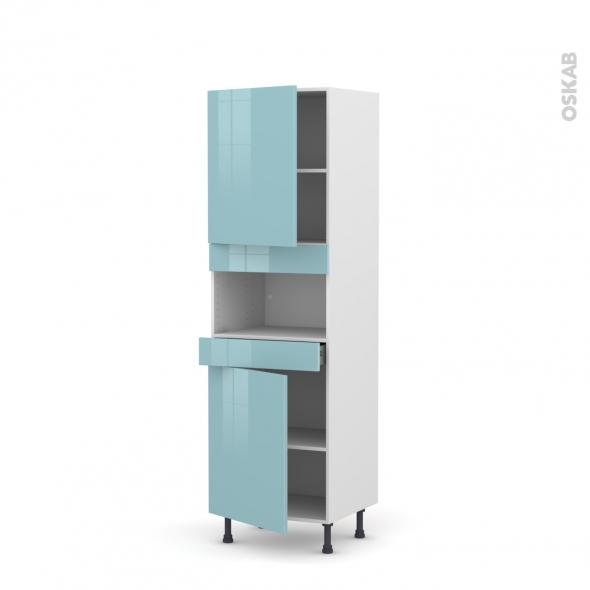 Colonne de cuisine N°2121 - MO encastrable niche 36/38 - KERIA Bleu - 2 portes 1 tiroir - L60 x H195 x P58 cm