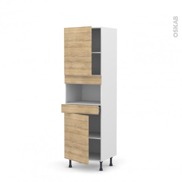 Colonne de cuisine N°2121 - MO encastrable niche 36/38 - HOSTA Chêne naturel - 2 portes 1 tiroir - L60 x H195 x P58 cm