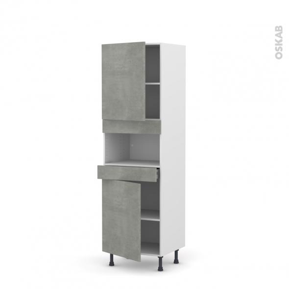 FAKTO Béton - Colonne MO niche 36/38 N°2121  - 2 portes 1 tiroir - L60xH195xP58