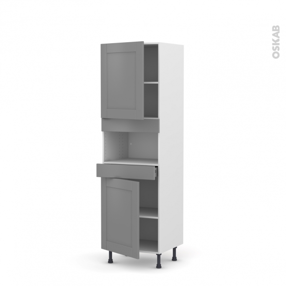 Colonne de cuisine N°2121 - MO encastrable niche 36/38 - FILIPEN Gris - 2 portes 1 tiroir - L60 x H195 x P58 cm
