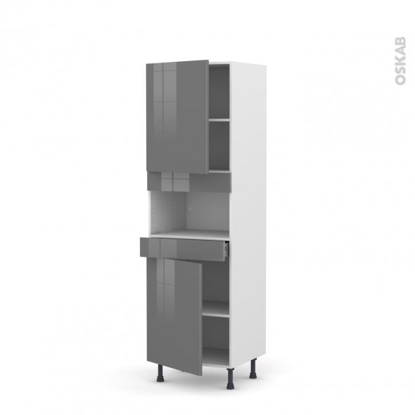Colonne de cuisine N°2121 - MO encastrable niche 36/38 - STECIA Gris - 2 portes 1 tiroir - L60 x H195 x P58 cm