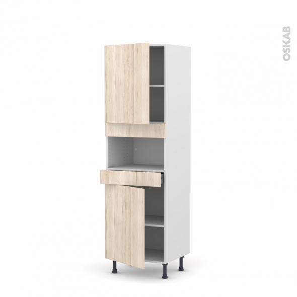 Colonne de cuisine N°2121 - MO encastrable niche 36/38 - IKORO Chêne clair - 2 portes 1 tiroir - L60 x H195 x P58 cm