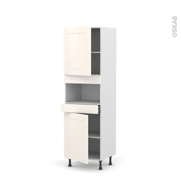 Colonne de cuisine N°2121 - MO encastrable niche 36/38 - FILIPEN Ivoire - 2 portes 1 tiroir - L60 x H195 x P58 cm