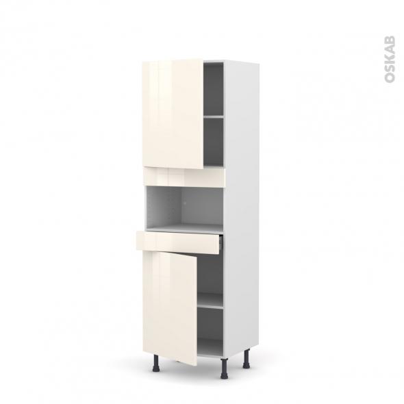 Colonne de cuisine N°2121 - MO encastrable niche 36/38 - KERIA Ivoire - 2 portes 1 tiroir - L60 x H195 x P58 cm