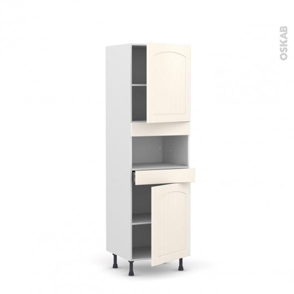 SILEN Ivoire - Colonne MO niche 36/38 N°2121  - 2 portes 1 tiroir - L60xH195xP58 - droite