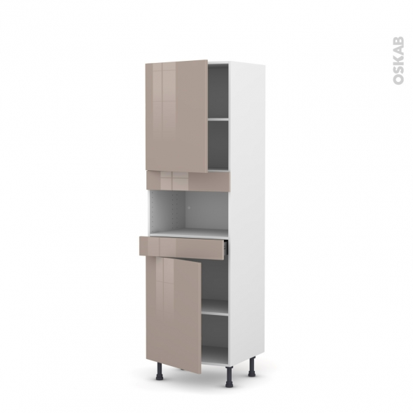 Colonne de cuisine N°2121 - MO encastrable niche 36/38 - KERIA Moka - 2 portes 1 tiroir - L60 x H195 x P58 cm