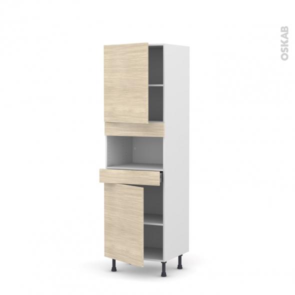 Colonne de cuisine N°2121 - MO encastrable niche 36/38 - STILO Noyer Blanchi - 2 portes 1 tiroir - L60 x H195 x P58 cm