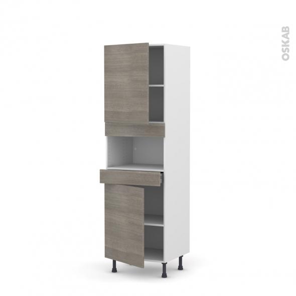 Colonne de cuisine N°2121 - MO encastrable niche 36/38 - STILO Noyer Naturel - 2 portes 1 tiroir - L60 x H195 x P58 cm
