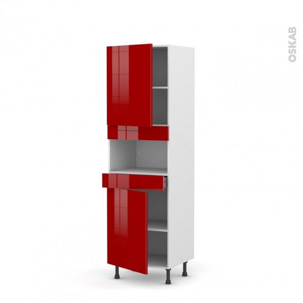 Colonne de cuisine N°2121 - MO encastrable niche 36/38 - STECIA Rouge - 2 portes 1 tiroir - L60 x H195 x P58 cm