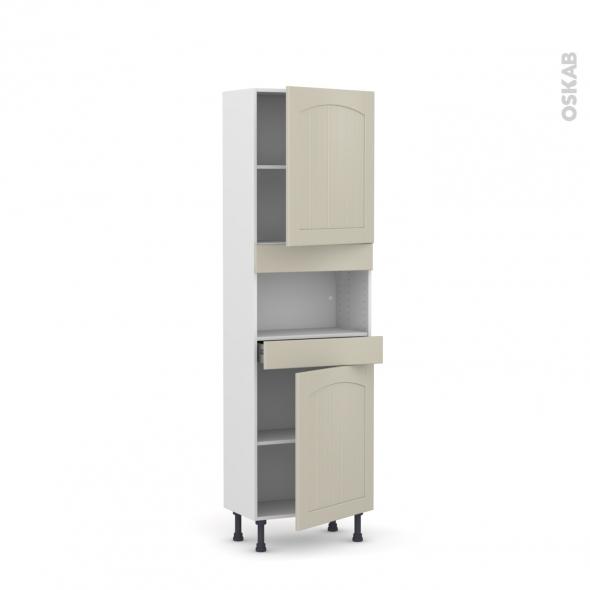 SILEN Argile - Colonne MO niche 36/38 N°2121  - Prof.37  2 portes 1 tiroir - L60xH195xP37 - droite