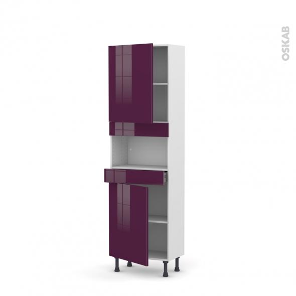 Colonne de cuisine N°2121 - MO encastrable niche 36/38 - KERIA Aubergine - 2 portes 1 tiroir - L60 x H195 x P37 cm
