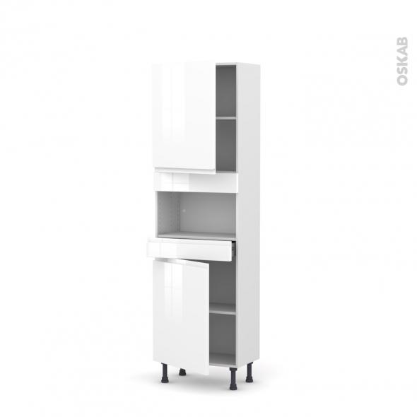 Colonne de cuisine N°2121 - MO encastrable niche 36/38 - IPOMA Blanc - 2 portes 1 tiroir - L60 x H195 x P37 cm